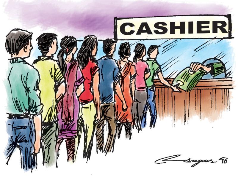 Bank Cashier. Illustration: Ratna Sagar Shrestha