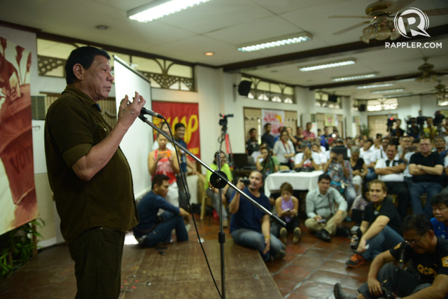 2016 Presidential Rodrigo Duterte attends the Peasants Electoral Agenda forum at University of the Philippines in Diliman on Wednesday, February 3, 2016. Photo by Jansen Romero