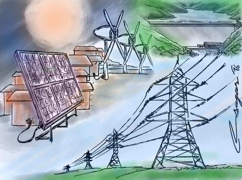 Hydro, solar and wind power. Illustration: Ratna Sagar Shrestha/THT